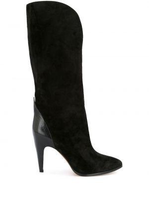 Czarne kozaki na obcasie skorzane miejskie Givenchy