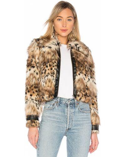 Коричневое кожаное пальто на молнии Majorelle