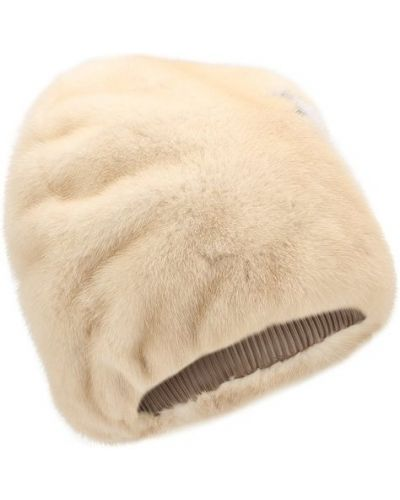 Бежевая шапка норковая Furland