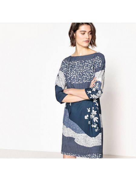 Платье мини с цветочным принтом на пуговицах La Redoute Collections