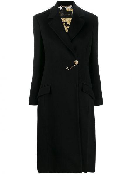 Черное кашемировое пальто с капюшоном Versace