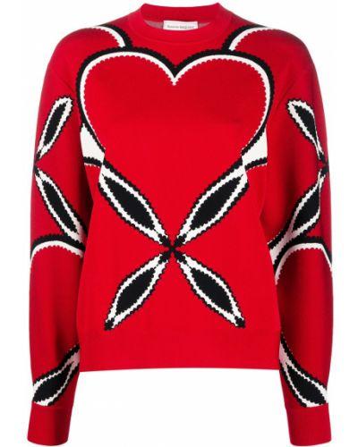 Красный длинный свитер круглый с вырезом Alexander Mcqueen