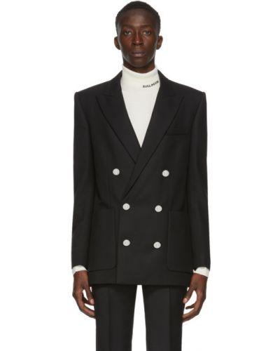 Черный пиджак с заплатками с манжетами с карманами Balmain