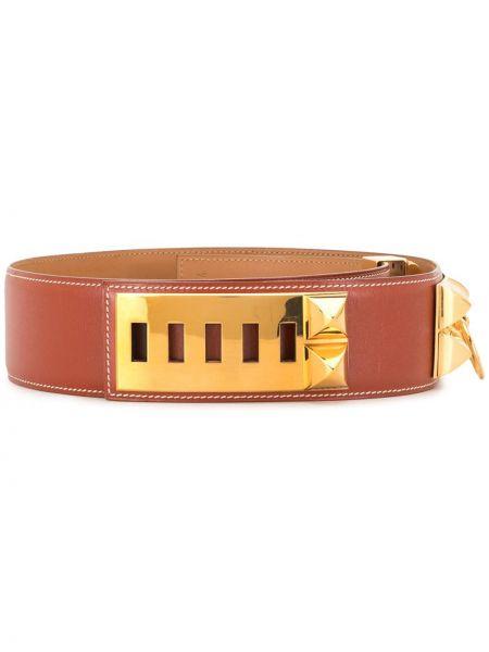 Коричневый кожаный ремень с заклепками винтажный Hermès