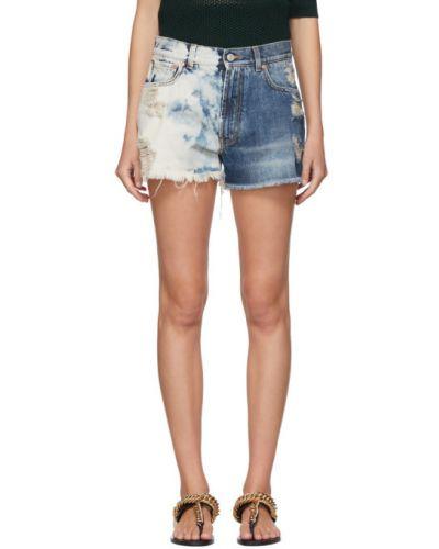 Skórzany niebieski jeansy rozciągać przycięte Givenchy
