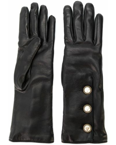 Перчатки длинные кожаные кашемировые Gucci