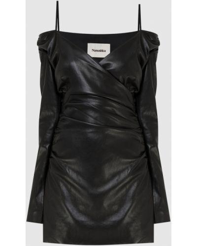 Платье миди на запах - черное Nanushka