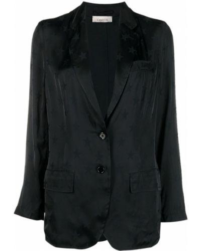 Черный удлиненный пиджак с карманами на пуговицах Laneus