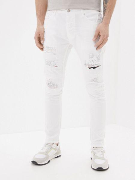Белые зауженные джинсы-скинни из микрофибры Terance Kole