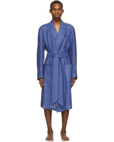 Синий льняной халат с длинными рукавами Paul Stuart
