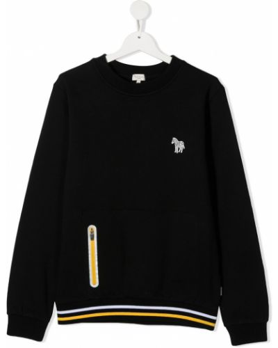 Белый свитшот с манжетами с карманами с круглым вырезом Paul Smith Junior