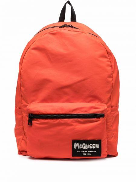 Pomarańczowy plecak z printem Alexander Mcqueen