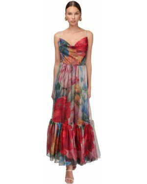 Ażurowa sukienka długa z falbanami bez rękawów Sandra Mansour
