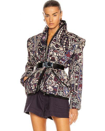 Фиолетовая стеганая кожаная куртка Isabel Marant