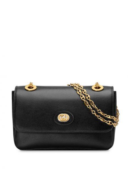Золотистая черная сумка на цепочке металлическая Gucci