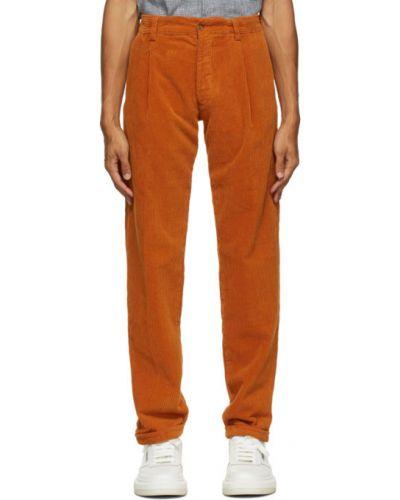 Брючные оранжевые прямые брюки стрейч с манжетами Doppiaa