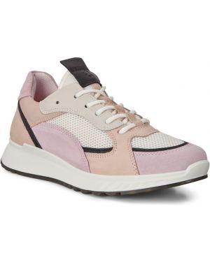 Текстильные розовые кроссовки на шнурках с подкладкой Ecco