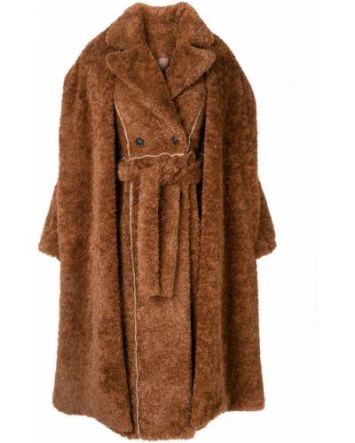 Коралловое длинное пальто с воротником Ruban