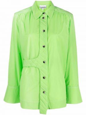 Koszula asymetryczna - zielona Ganni