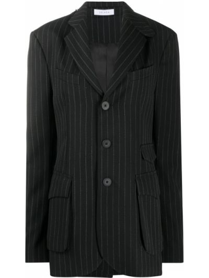 Шерстяной однобортный черный удлиненный пиджак Delada