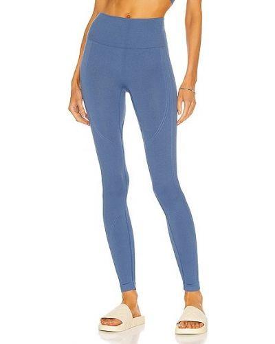Niebieskie prążkowane legginsy bezszwowe Alala
