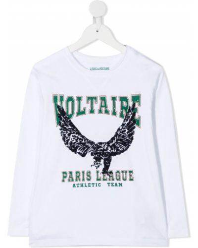 Белая хлопковая футболка с круглым вырезом с длинными рукавами Zadig & Voltaire Kids