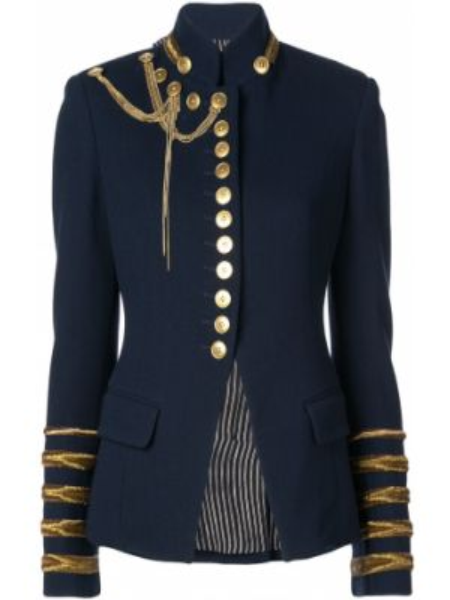 Приталенный синий пиджак с карманами Oscar De La Renta