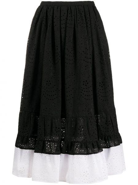 Расклешенная шелковая черная юбка миди N°21
