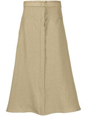 С завышенной талией зеленая юбка макси с поясом Le Kasha