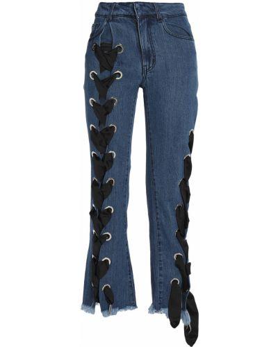 Хлопковые расклешенные синие джинсы Marques Almeida