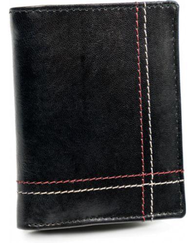 Czarny portfel z kieszeniami z prawdziwej skóry bez zapięcia Always Wild
