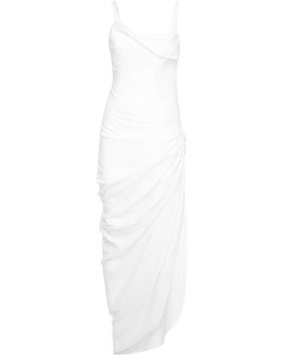 Белое платье на молнии из вискозы Jacquemus