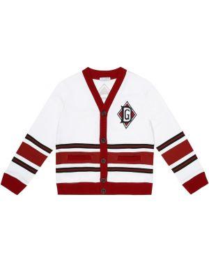 Biały kardigan w paski bawełniany Dolce & Gabbana Kids