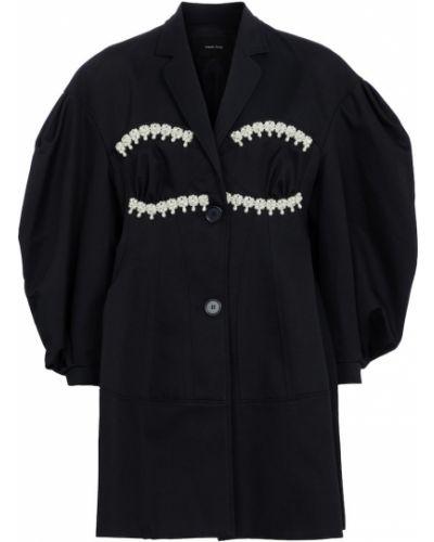 Niebieski płaszcz bawełniany perły Simone Rocha
