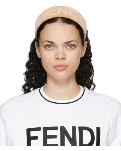 Aksamit biały bawełna opaska na głowę wytłoczony Fendi