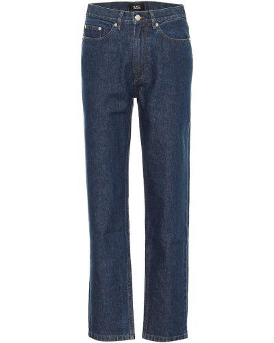 Прямые ватные хлопковые синие прямые джинсы A.p.c.
