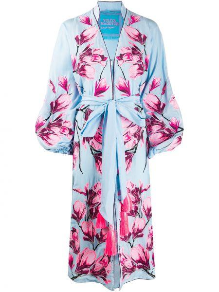 Шелковое платье макси - синее Yuliya Magdych