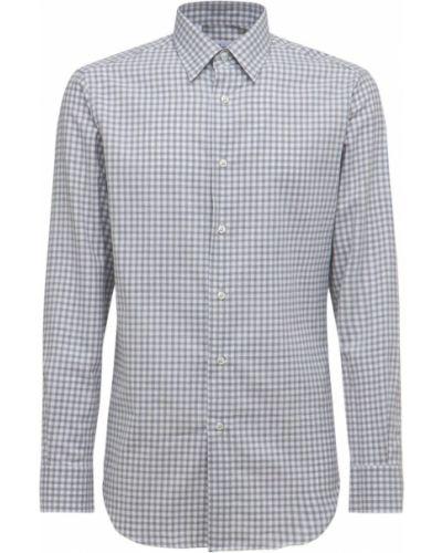 Кашемировая рубашка - синяя Brioni