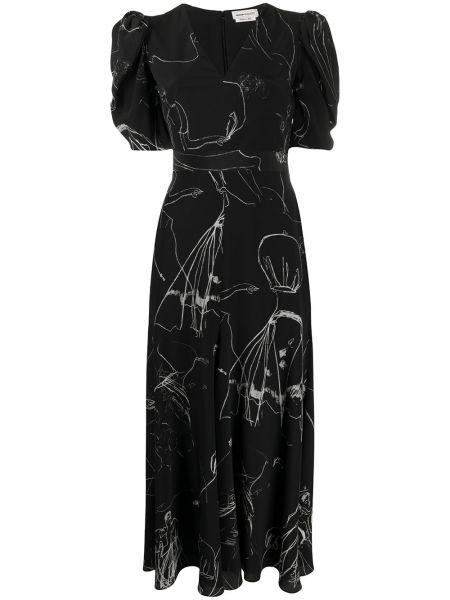 Платье миди с V-образным вырезом черное Alexander Mcqueen