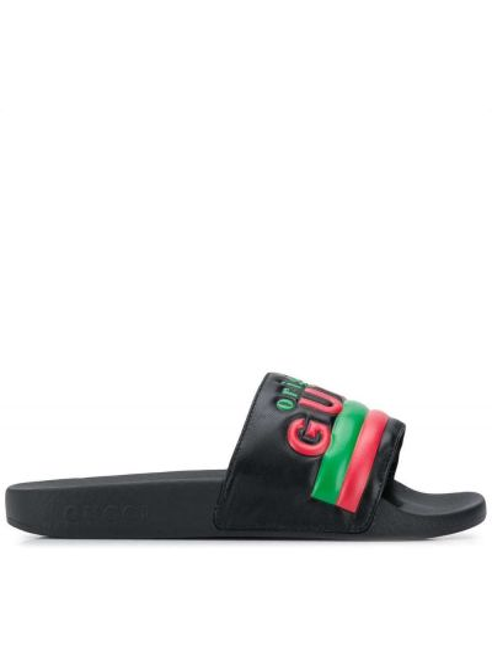 Czarne klapki skorzane peep toe Gucci