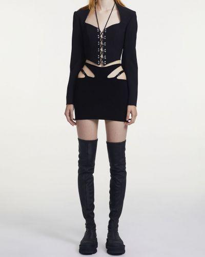 Кружевная шерстяная черная куртка Dion Lee