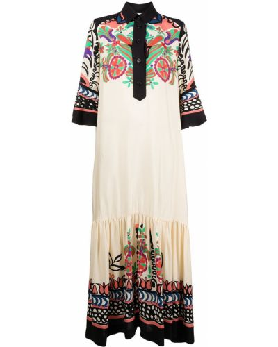 С рукавами платье макси с воротником из вискозы La Doublej