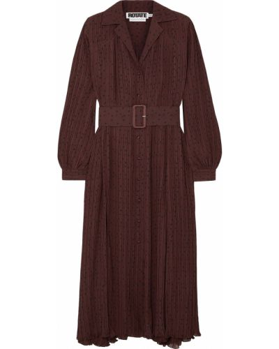 Brązowa sukienka midi z paskiem z szyfonu Rotate Birger Christensen