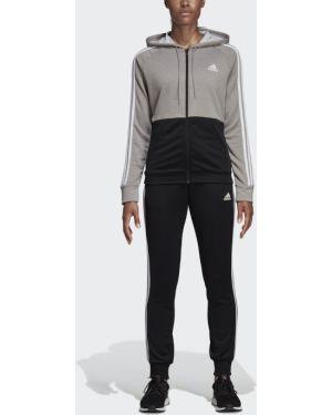 Спортивный костюм черный из футера Adidas