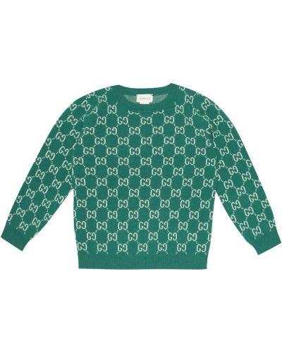 Zielony sweter wełniany Gucci Kids