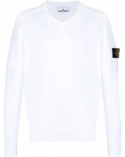 Biały pulower z długimi rękawami bawełniany Stone Island