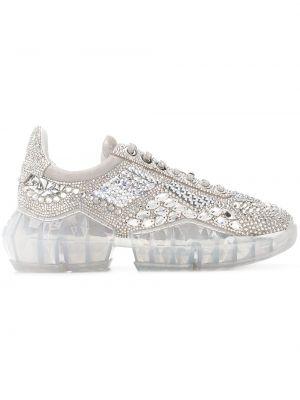 Кожаные серебряные кроссовки на шнуровке с заплатками Jimmy Choo