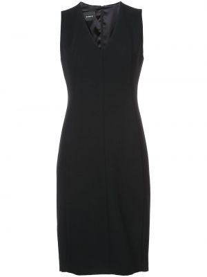 Шерстяное черное платье с V-образным вырезом на молнии Akris