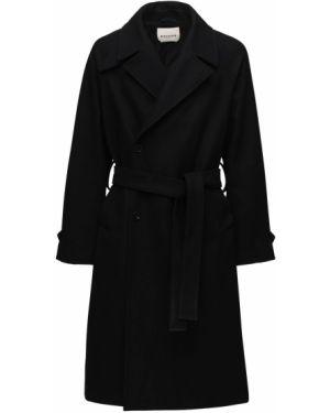 Czarny płaszcz wełniany z paskiem Rochas