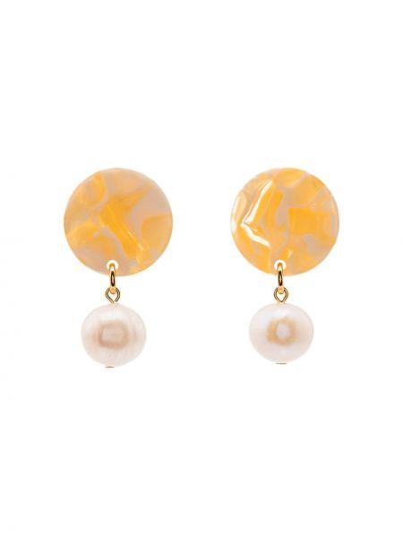 Pomarańczowe kolczyki sztyfty perły Aym